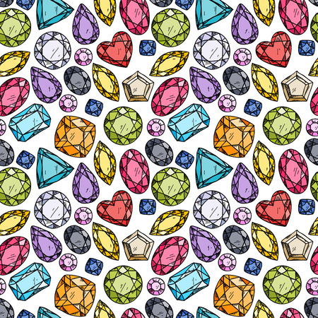 Seamless pattern of colorful jewels. Hand drawn gemstones. Sketch style illustration.
