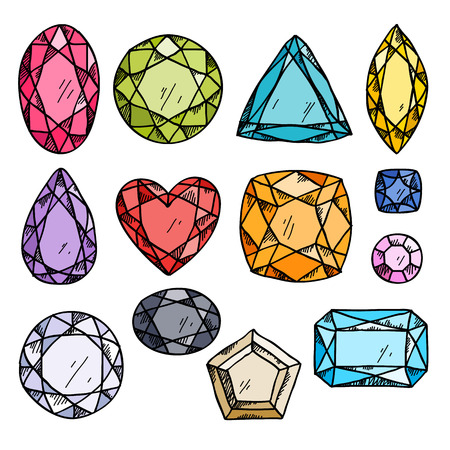 Set of colorful jewels. Hand drawn gemstones. Sketch style illustration. Ilustração