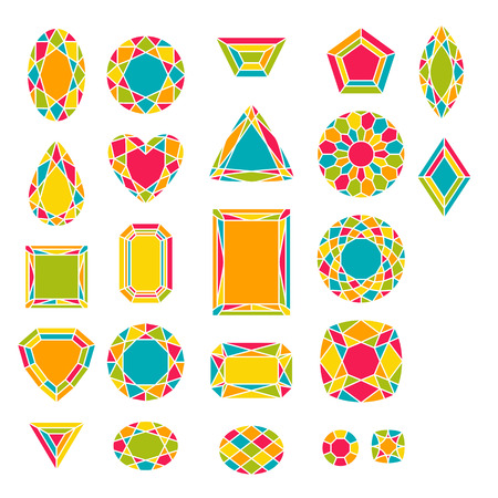 Set of jewels in flat style. Colorful gemstones. Vector