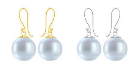 findings: Set of earrings with round blue pearls. Golden and silver hook earring findings.