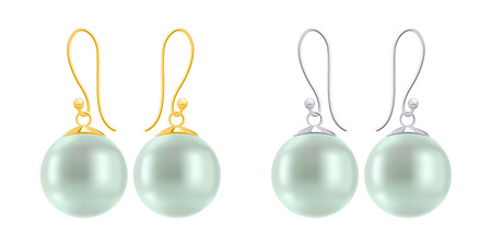 findings: Set of earrings with round green pearls. Golden and silver hook earring findings.