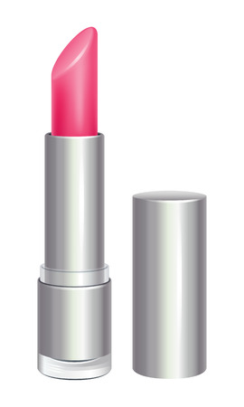 make up face: Pink lipstick in silver tube. Cosmetic product. Illustration