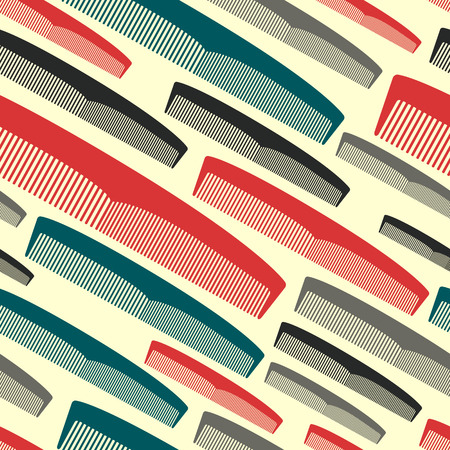 hairstylist: Hair comb seamless pattern in vintage colors. Light background. Illustration