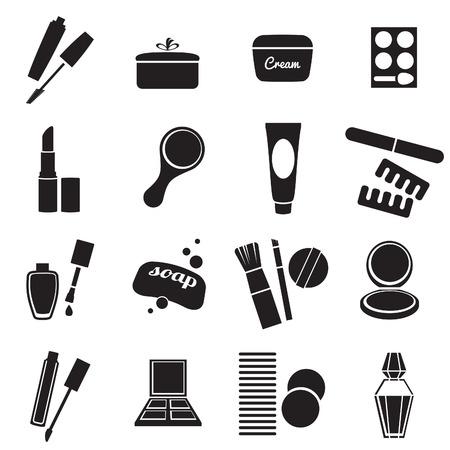 Produits cosmétiques en noir et blanc icônes ensemble simple.