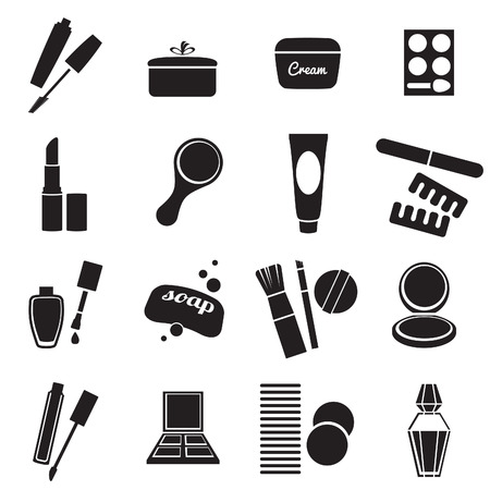 Cosmetic products black and white simple icons set.