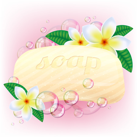 soap sud: Yellow soap bar with bubbles and white flowers on pink background.