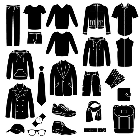 mens: Set of mens clothes and accessories icons.