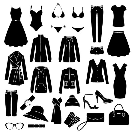 dress coat: Set of womens clothes and accessories icons.