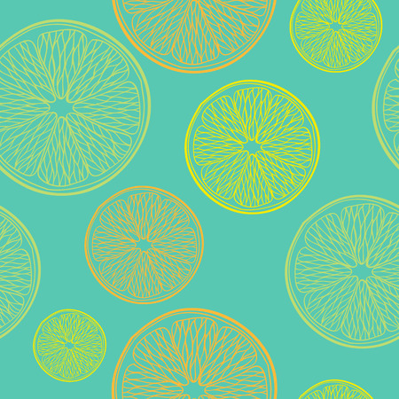 Lime, lemon and orange slices seamless pattern. Hand drawn background. Green back.