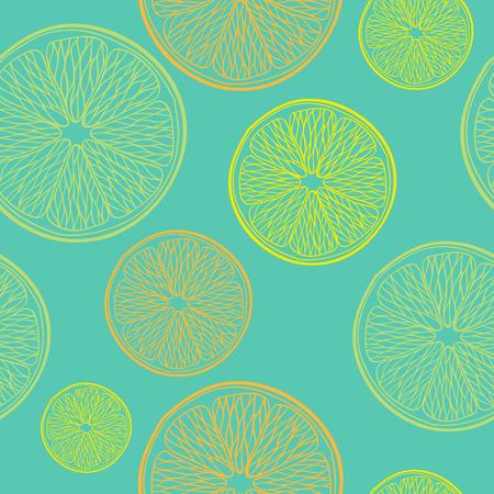 Lime, lemon and orange slices seamless pattern. Hand drawn background. Green back.