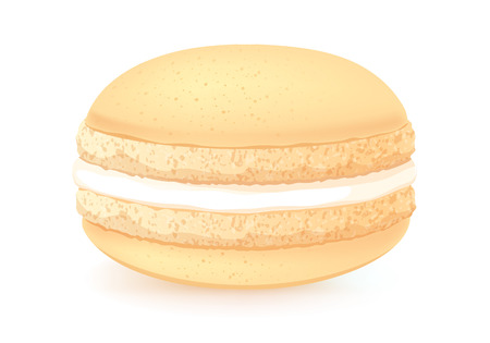 macaroon: Sweet macaroon dessert isolated on white. Cream flavour. Beige color.