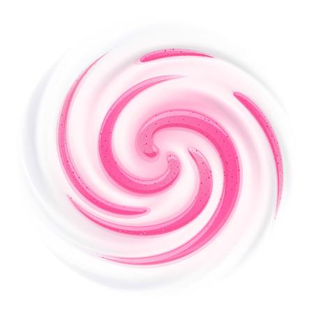 Milk, Yogurt or Cream with Jam streaks. Curl background. White swirl.