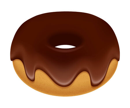 frosting: Sweet donut with chocolate frosting. Food illustration.