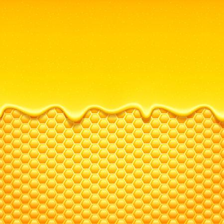 kam: Glanzende gele patroon met honingraat en zoete honing druipt. Zoete achtergrond.