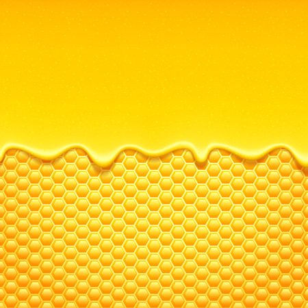 colmena: Patrón de color amarillo brillante con nido de abeja y miel dulce gotea. Fondo dulce. Vectores