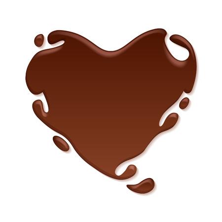 Chocolate heart splash. Sweet background. Brown drops. Çizim