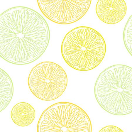 Lime, lemon and orange slices seamless pattern. Hand drawn background. White back. Vector