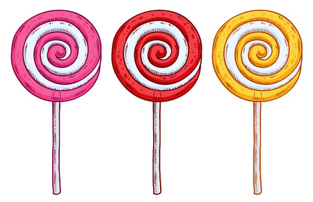 lollipop: Set of colorful lollipops in hand drawn style. Spiral candies sketch. Illustration