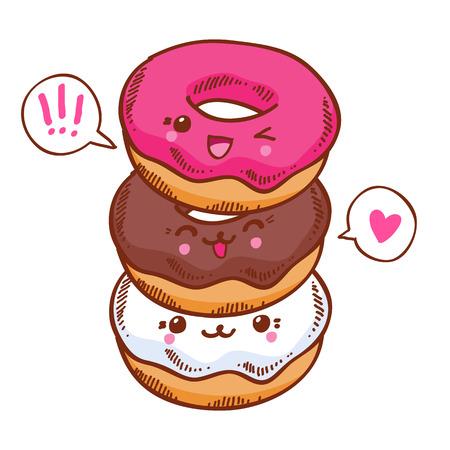 Group of three cute kawaii donuts. Good for t-shirt design.