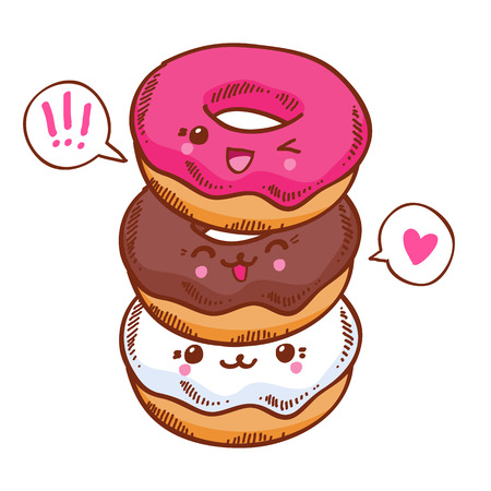 kawaii: Group of three cute kawaii donuts. Good for t-shirt design. Illustration