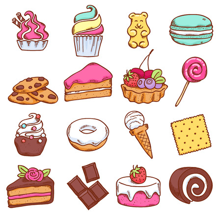 Different colorful sweets icons set in sketch style. Vettoriali
