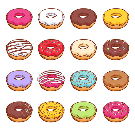 doughnut: Set of colorful donuts. Sweets in hand drawn style. Illustration