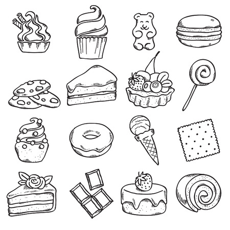 gummy: Different black and white sweets icons set in sketch style.