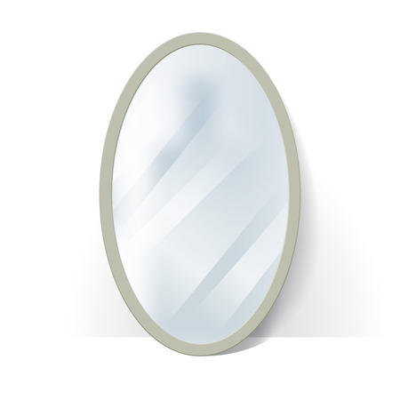 Big oval mirror with blurry reflection at the wall illustration.