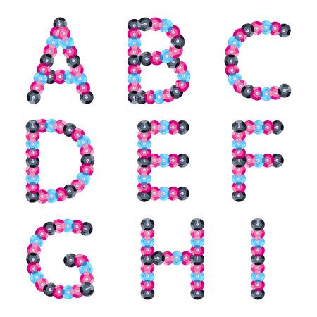 Colorful sequins alphabet. Glitter letters. ABC illustration. Vector