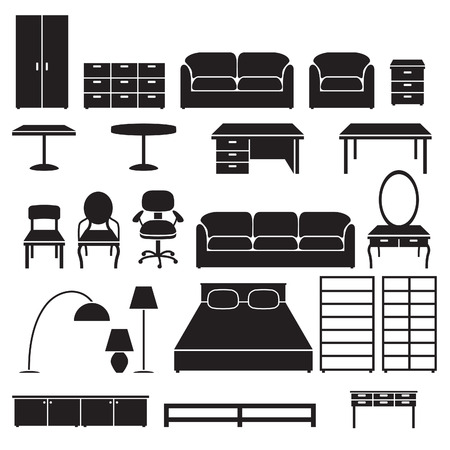 console table: Set of furniture icons. Black silhouettes isolated on white background.
