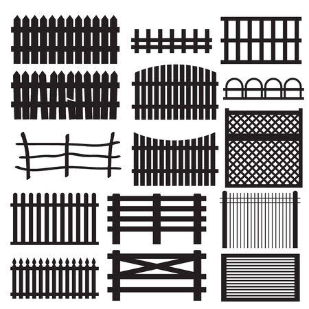 picket: Set of rural fences types. Black an white icons.