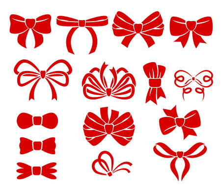 Set of different red bows icons. Holiday decoration.