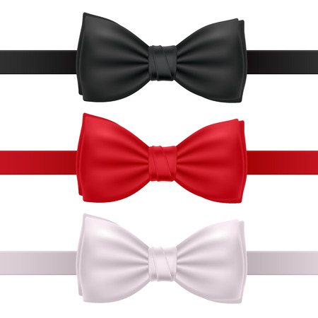 bowtie: Set of bow ties isolated on white background - red, black and white.