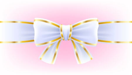 edging: White bow on ribbon with golden edging isolated on pink background.