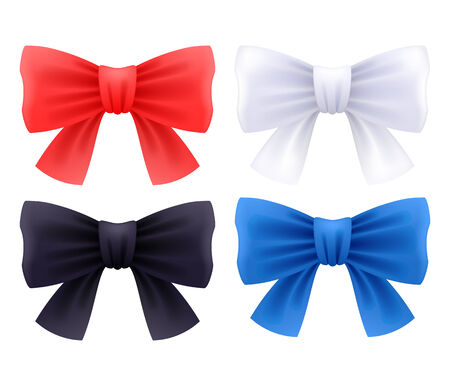 red black white: Set of bows isolated on white background - red, black, white and blue colors.