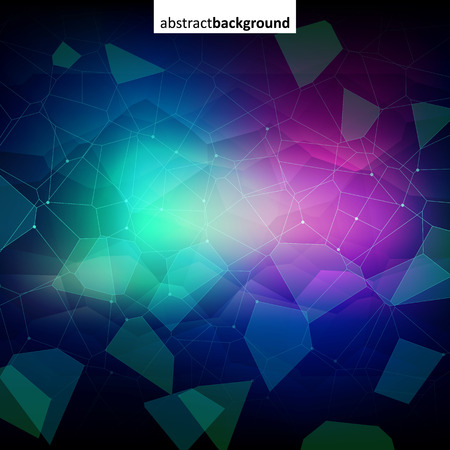 Colorful abstract dark crystal background. Ice, glass or jewel structure. Blue and purple bright colors.