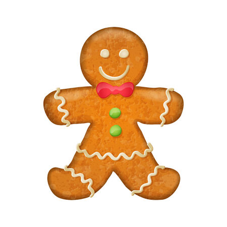 christmas cookie: Gingerbread man with red bow. Christmas symbol. Sweet cookie. Illustration