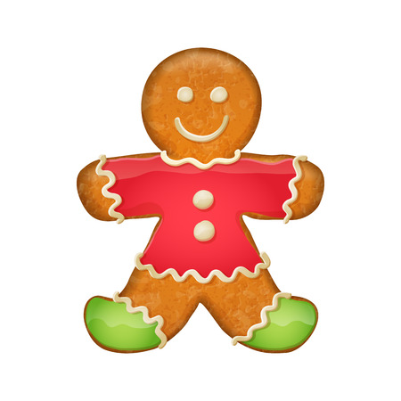 Gingerbread man in red clothes and green socks. Christmas symbol. Illustration