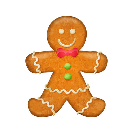 gingerbread man: Gingerbread man with red bow. Christmas symbol. Sweet cookie. Illustration