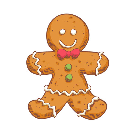 christmas cookie: Gingerbread man in sketch style.  Christmas symbol. Sweet cookie. Illustration