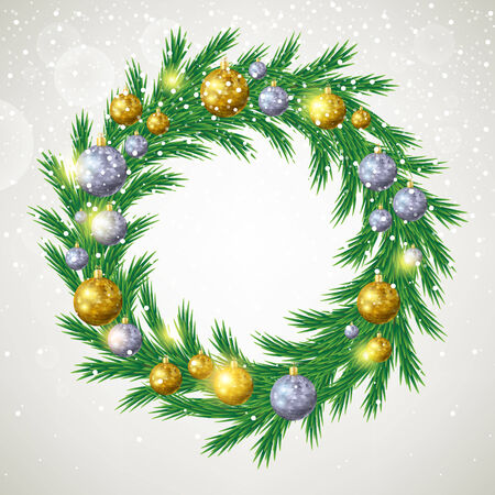 Christmas tree wreath with decorations. Spruce branches with golden and silver christmas balls. Vector