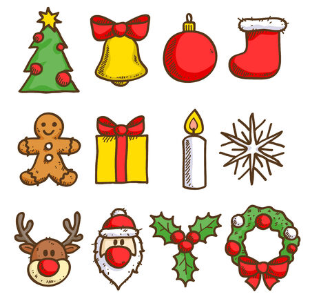 Christmas icons set. Sketch style. Holiday symbols. Vector