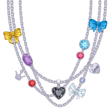 Hand drawn colorful necklace with silver chains, gemstones and bows. Sketch style.