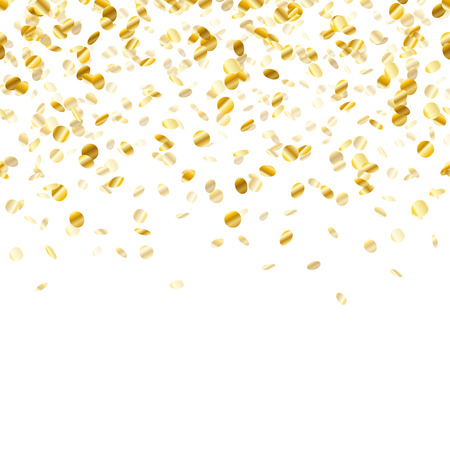 Golden confetti background. Seamless horizontal pattern. Metallic foil.