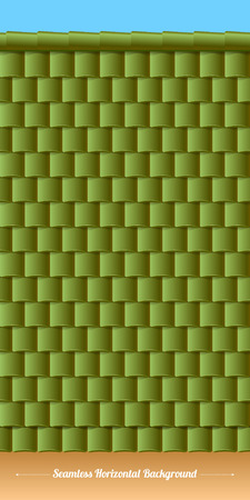 gable: Horizontal roof tiles texture with wall and sky. Green tiles. Illustration