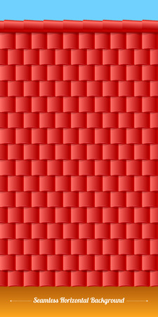 gable: Horizontal roof tiles texture with wall and sky. Red tiles. Illustration