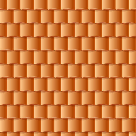slate roof: Seamless roof tiles pattern - orange texture. Architectural background. Illustration
