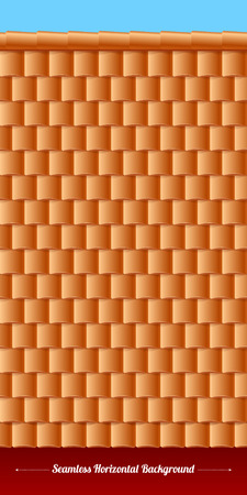 tiles texture: Horizontal roof tiles texture with wall and sky. Orange tiles.