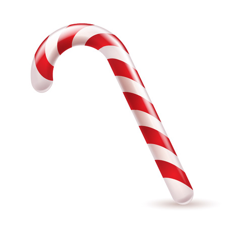 Candy cane with red and white stripes. Christmas sweet treat. Ilustrace