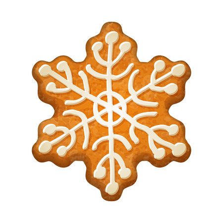 holiday symbol: Decorated snowflake. Gingerbread cookie. Holiday symbol.  Sweet bakery.